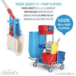 Sada na podlahy Vozík OBJECT + Mop FLIPPER 40 cm