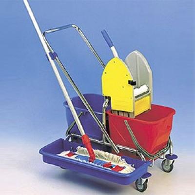 Upratovací vozík CLASIC 1 + vanička a podpera na mop