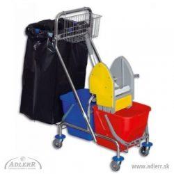 Upratovací vozík CLASIC 4 + držiak na vrece + košík na rukoväť