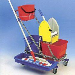 Vozík CLASIC 2 + vanička a podpera na mop + košík s vedrom 6 L