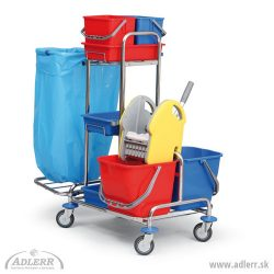 Upratovací vozík OBJECT skošom 120L poličkami a vedrami